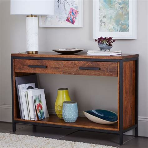 wood metal console table metal wood console table elm