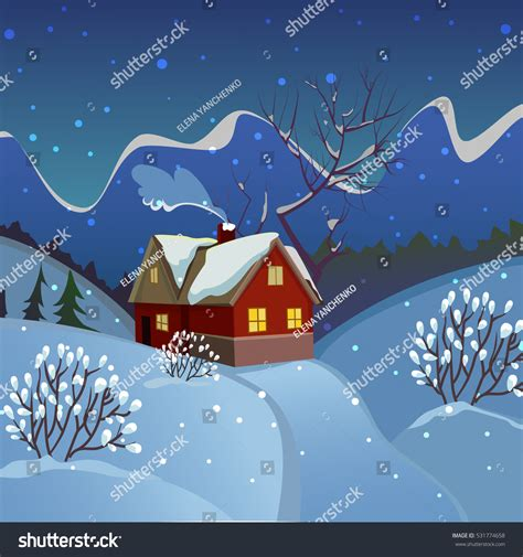 the value of your house over and above the mortgage winter landscape evening landscape with a house the smoke from the chimney starry