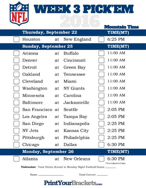 printable nfl schedule for week 2 mountain time week 3 nfl schedule 2016 printable