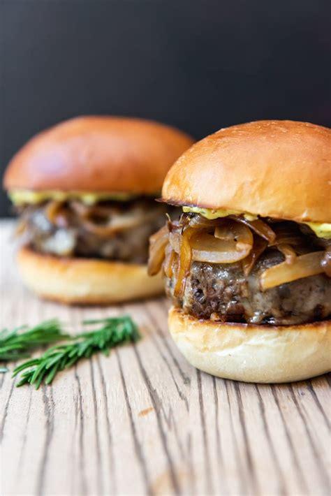 soy glazed mushroom swiss burgers  caramelized onions