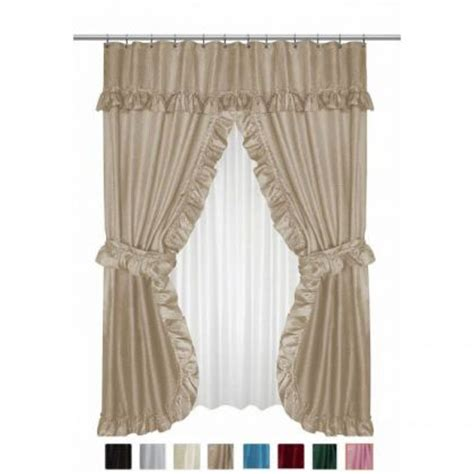 double swag shower curtains with valance double swag shower curtains double swags with liner