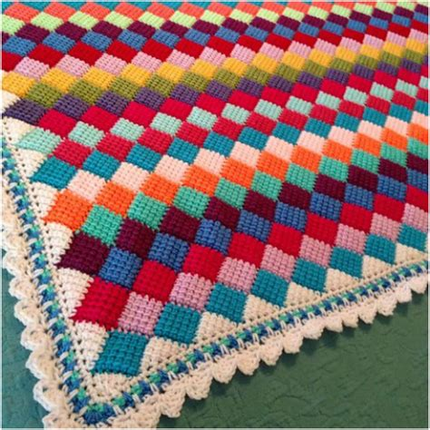 Home Decor Ideas Pictures by Tunisian Entrelac Throw Crochet Free Pattern Stylesidea