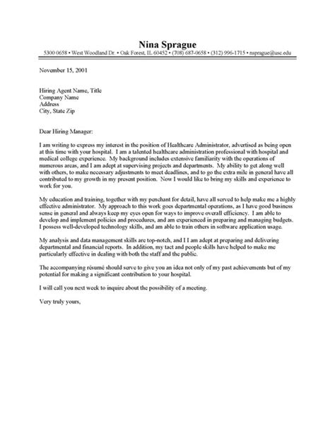 cover letter exles for healthcare health care administrator cover letter resume cover letter