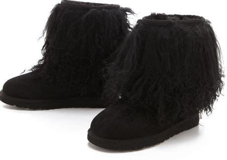 ugg sheepskin cuff boots in black lyst