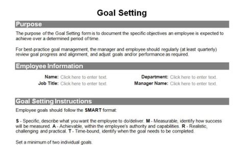 goal setting template for employees collection workplace goals exles photos daily quotes