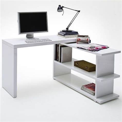 High Gloss Computer Desk Michl High Gloss Finish Rotating Computer Desk In White Desks Desks Computers