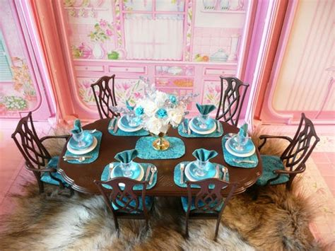 barbie dining room ooak barbie dining room house furniture lot chairs flowers