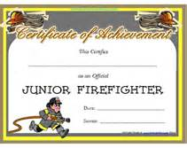 free printable junior firefighter award certificate
