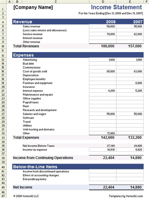 download the income statement template from vertex42 com