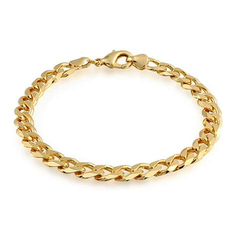 gold filled unisex cuban curb chain bracelet 180 8in
