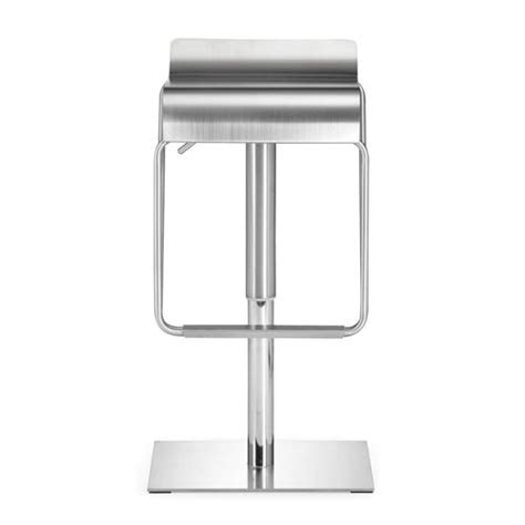 polished stainless steel counter stools dazzer brushed stainless steel adjustable bar stool zuo