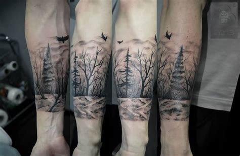 black and grey forest tattoo 43 wonderful forest tattoos