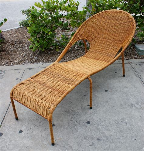 Vintage Mid Century Modern Rattan Woven Iron Patio Lounge Mid Century Modern Patio Chairs
