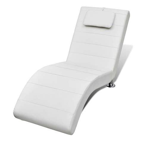 chaise white white artificial leather chaise longue with pillow