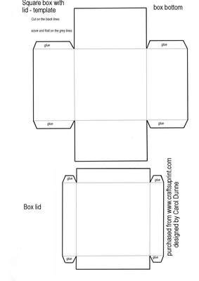 templates for boxes with lids square box template on craftsuprint designed by carol