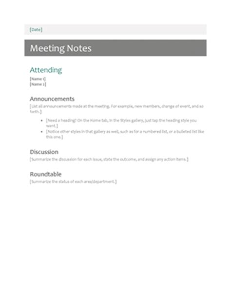 meeting name card template meeting notes