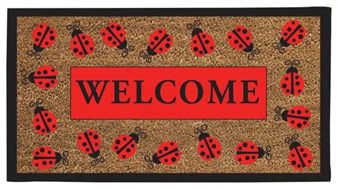 ladybug rubber st ladybug welcome coir mat traditional doormats by