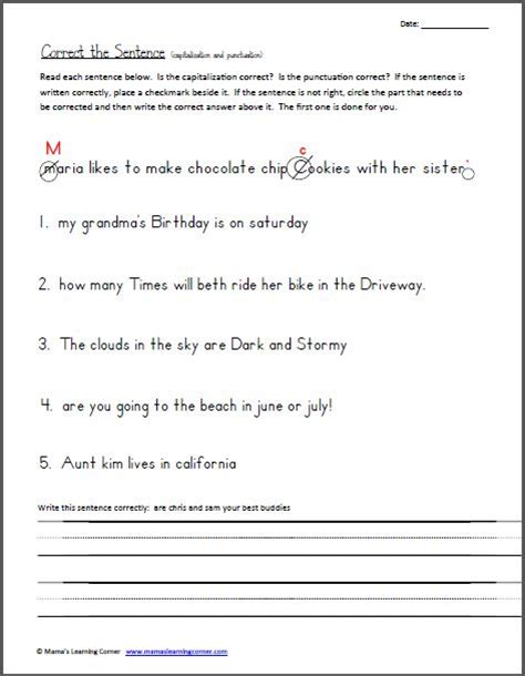 printable capitalization quiz capitalization and punctuation worksheets worksheets