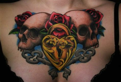 ladies chest tattoo ideas 50 cool skull tattoos designs pretty designs