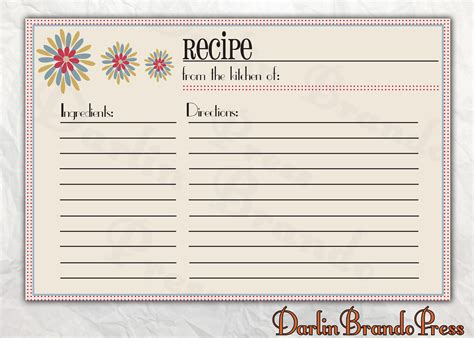 Bridal shower recipe cards free printable christmas recipe card free
