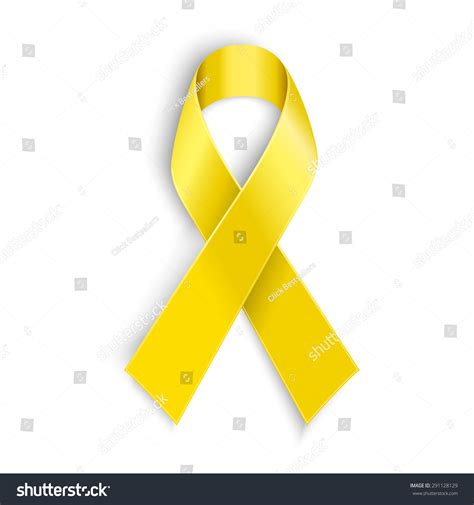 bone cancer ribbon color vector yellow awareness ribbon on white stock vector