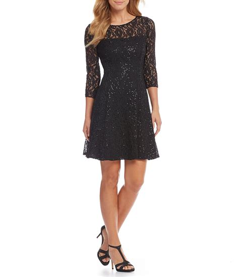 Becca Lace Fit To L s l fashions neck 3 4 sleeve sequined lace fit and flare dress dillards