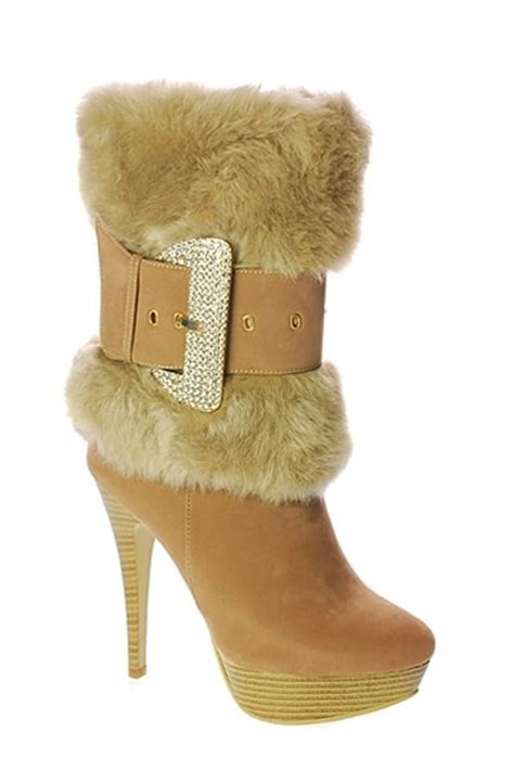 faux fur high heel boots faux fur rhinestone buckle high heel boots
