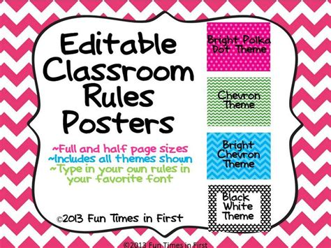Editable Poster Templates classroom posters editable 4 themes