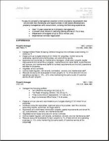 Apartment Property Manager Sle Resume by Sle Resume For Property Manager Free Resumes Tips