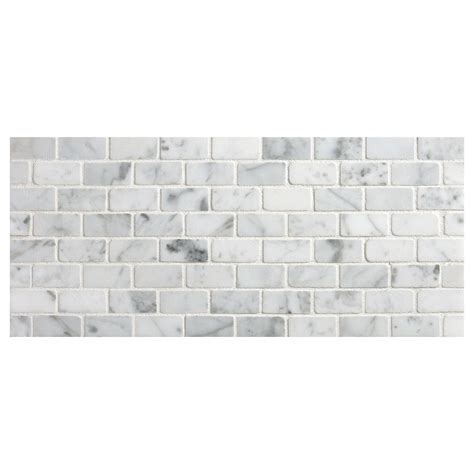 Backsplash Subway Tiles For Kitchen offset brick mosaic tile polished white carrara marble