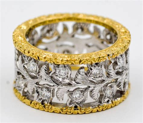 leaf pattern eternity ring 18 karat yellow and white gold hand engraved filigree leaf