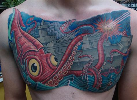 giant squid tattoo squid vs battleship by larry brogan tattoonow