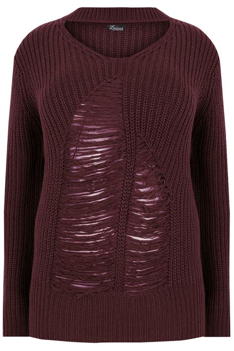 Hoodie Jumper Brembo Master Rem limited collection burgundy chunky knitted distressed jumper with choker neck plus size 16 to 32