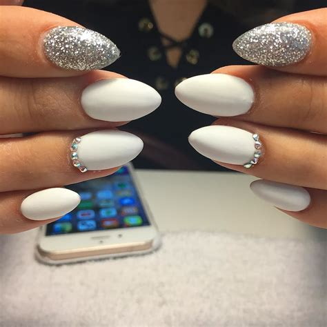 nail and nail matte white and silver nails cocainewhite whitenails