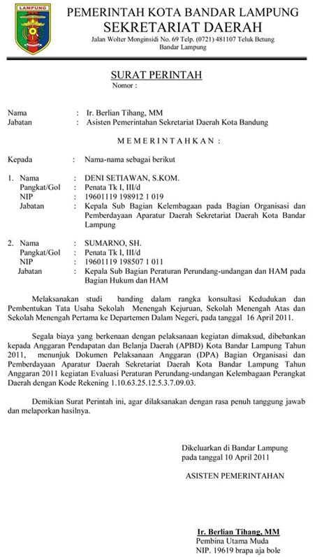 contoh surat perintah resmi sekda kota bandar lung
