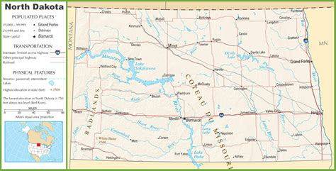 dakota road map with cities dakota highway map
