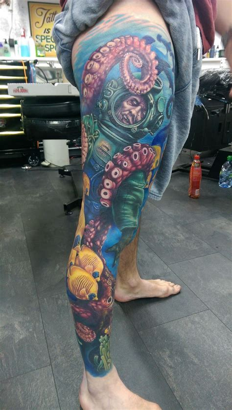 tattoo shops edinburgh themed leg sleeve by alex rattray of and