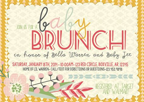 brunch invitation template free brunch baby shower invitations theruntime