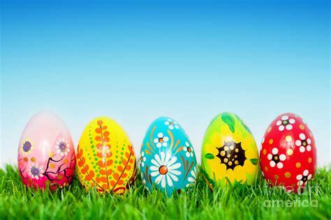 Handmade Easter Eggs - handmade easter eggs on grass photograph by michal bednarek