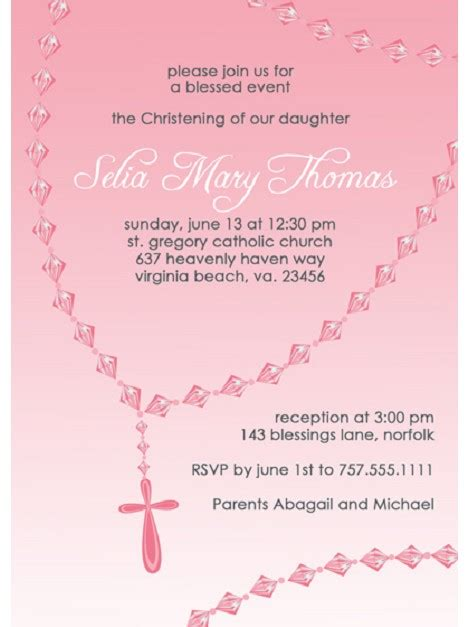 customized invitation card for christening pink rosary custom baptism and christening invitation by