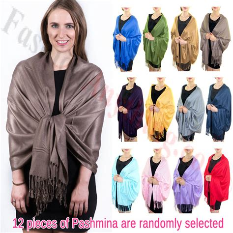 Silky Pashmina 1 solid pashmina scarf silky soft 1 dz asst color