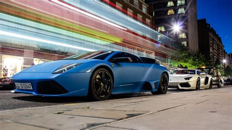 lamborghini parked hd blue parked lamborghini murcielago wallpaper