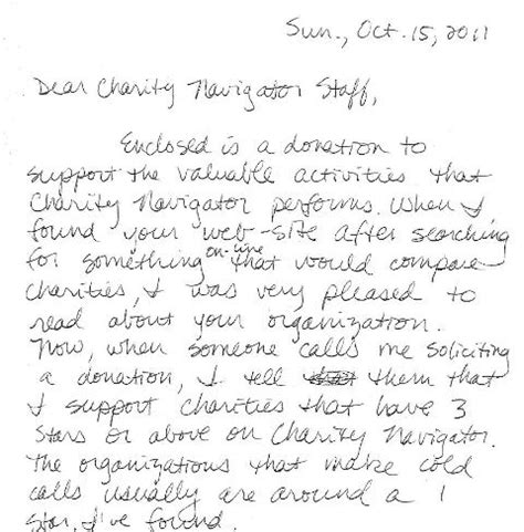 charity navigator letter charity navigator note from a charity navigator donor