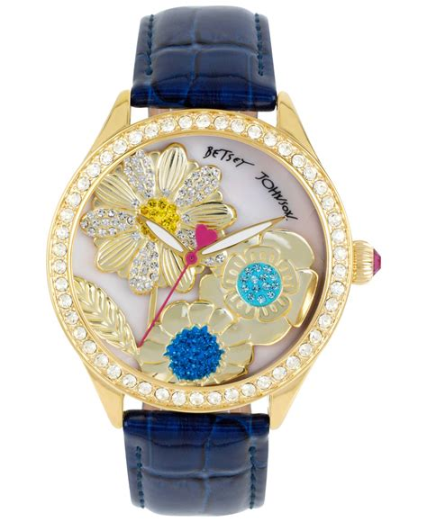 betsey johnson s gold tone dimensional flower blue