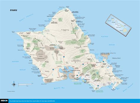 map o printable travel maps of o ahu moon travel guides