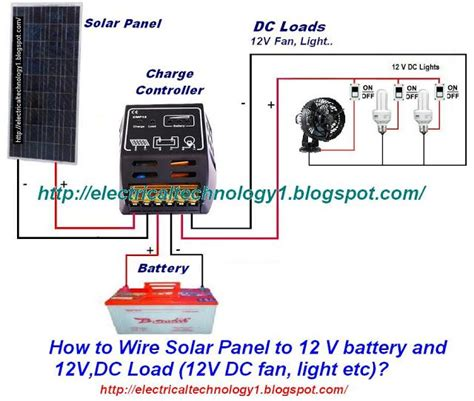 solar powered electric fan how to wire solar panel to 12v battery and 12v dc load