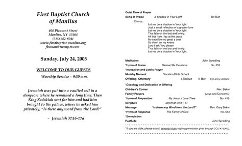 Church Program Template Cyberuse Church Wedding Program Template