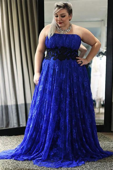 strapless royal blue  size lace long prom dresscheap