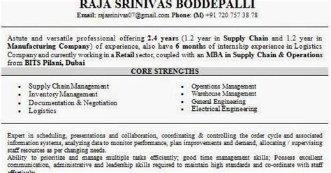 Supply Chain Management Resume For Freshers by Supply Chain Management Mba Resume