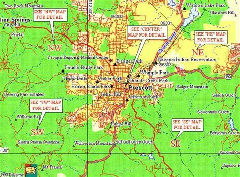 map of prescott az map of prescott arizona holidaymapq